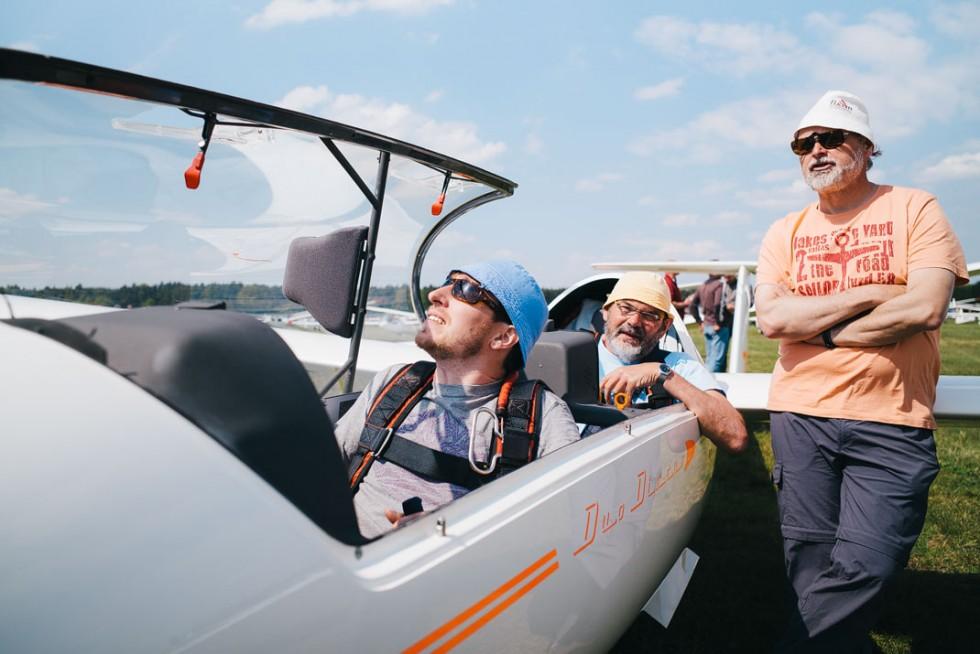 Das Duo-Team kurz vor dem Start zum ersten Wertungsflug.